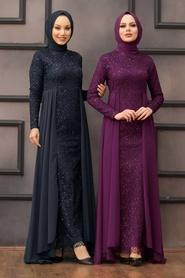 Nayla Collection - Pullu Lacivert Tesettür Abiye Elbise 90000L - Thumbnail