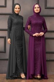 Nayla Collection - Pullu Mor Tesettür Abiye Elbise 90000MOR - Thumbnail