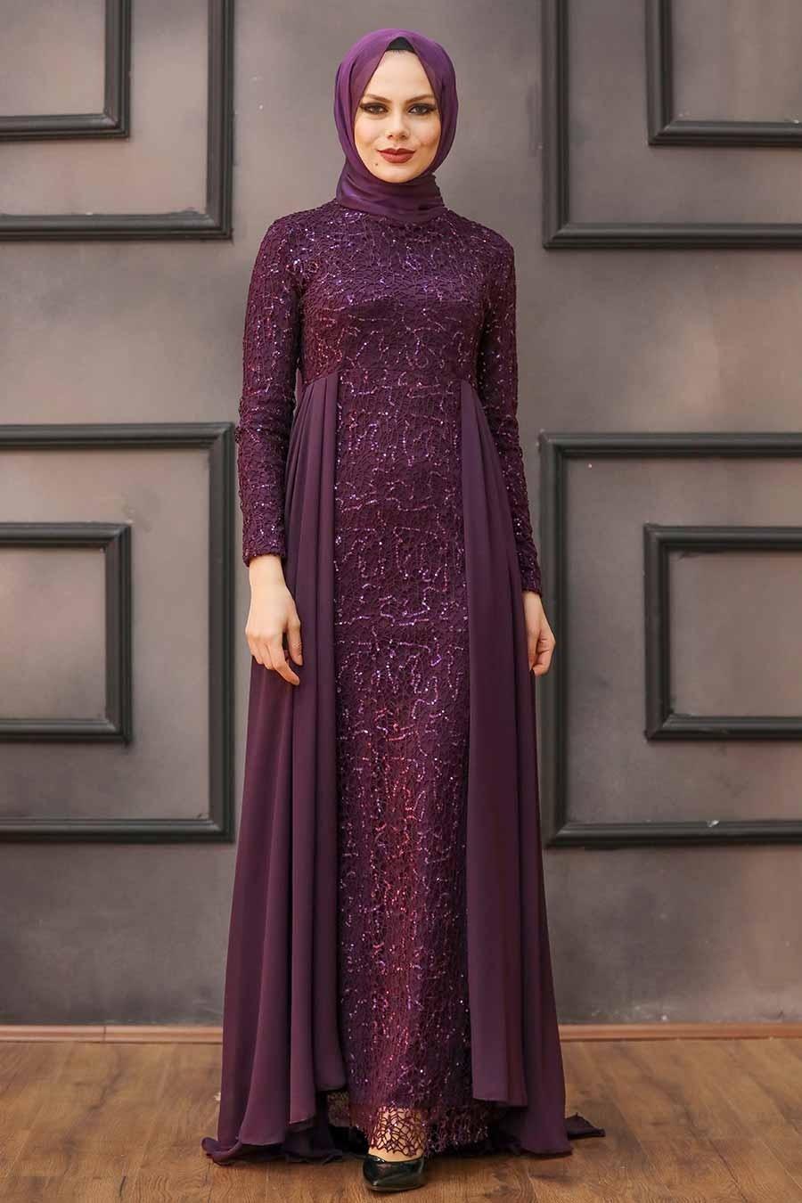 Nayla Collection - Pullu Mürdüm Tesettür Abiye Elbise 90000MU
