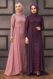 Nayla Collection - Pullu Mürdüm Tesettür Abiye Elbise 90000MU - Thumbnail