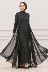 Nayla Collection - Pullu Siyah Tesettür Abiye Elbise 90000S - Thumbnail