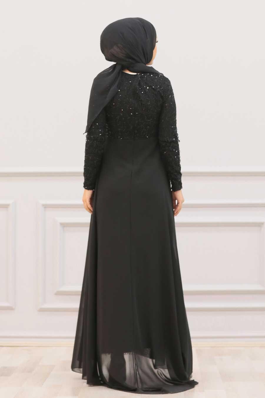 Nayla Collection - Pullu Siyah Tesettür Abiye Elbise 90000S
