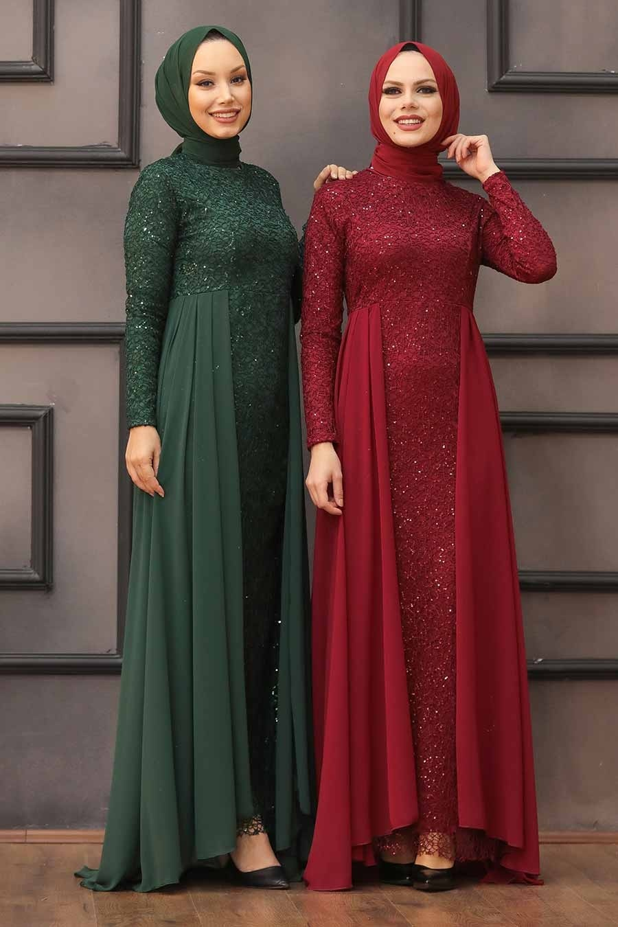 Nayla Collection - Pullu Yeşil Tesettür Abiye Elbise 90000Y
