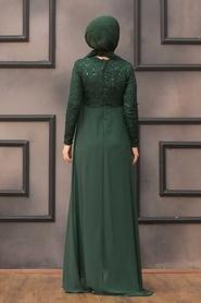 Nayla Collection - Pullu Yeşil Tesettür Abiye Elbise 90000Y - Thumbnail
