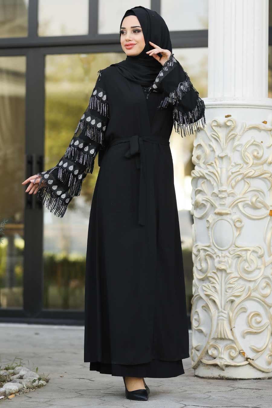 Nayla Collection - Püsküllü Siyah Tesettür Abaya 95760S