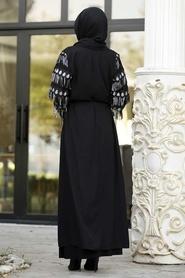 Nayla Collection - Püsküllü Siyah Tesettür Abaya 95760S - Thumbnail