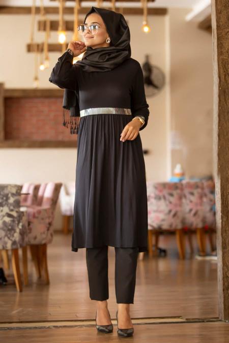 Nayla Collection - Siyah Tesettür Tunik 79190S