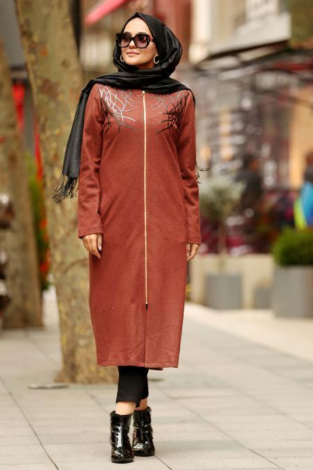 Nayla Collection - Terra Cotta Hijab Coat 9047KRMT