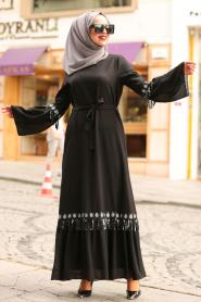 Nayla Collection - Volan Kollu Siyah Tesettür Elbise 5004S - Thumbnail