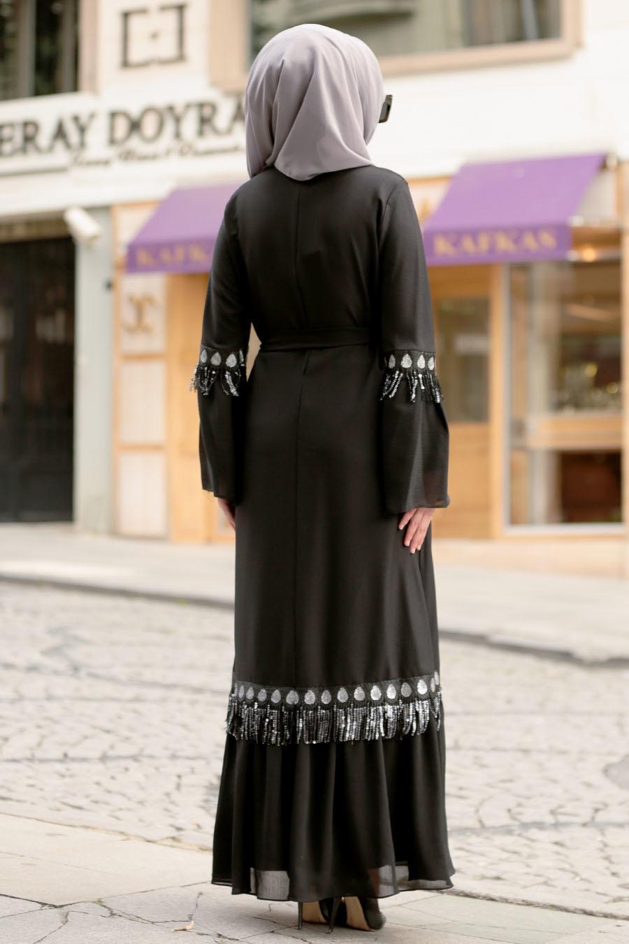 Nayla Collection - Volan Kollu Siyah Tesettür Elbise 5004S