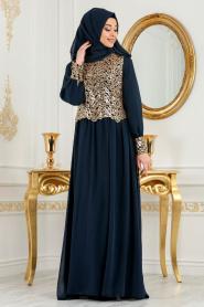 Neva Style - Önü Pul Payetli Lacivert Tesettür Abiye Elbise 52584L - Thumbnail