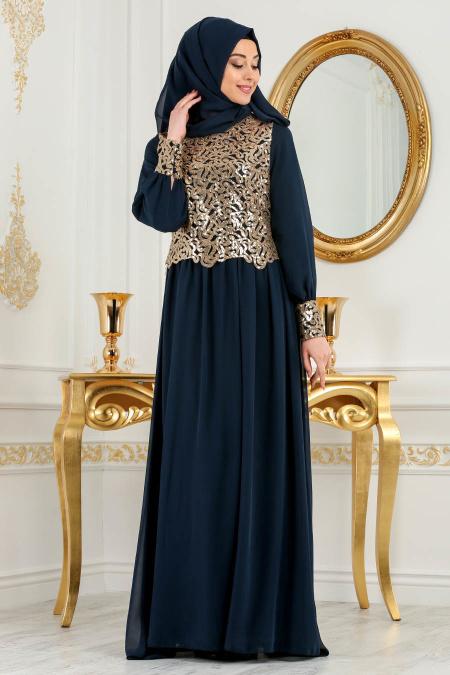 Neva Style - Önü Pul Payetli Lacivert Tesettür Abiye Elbise 52584L