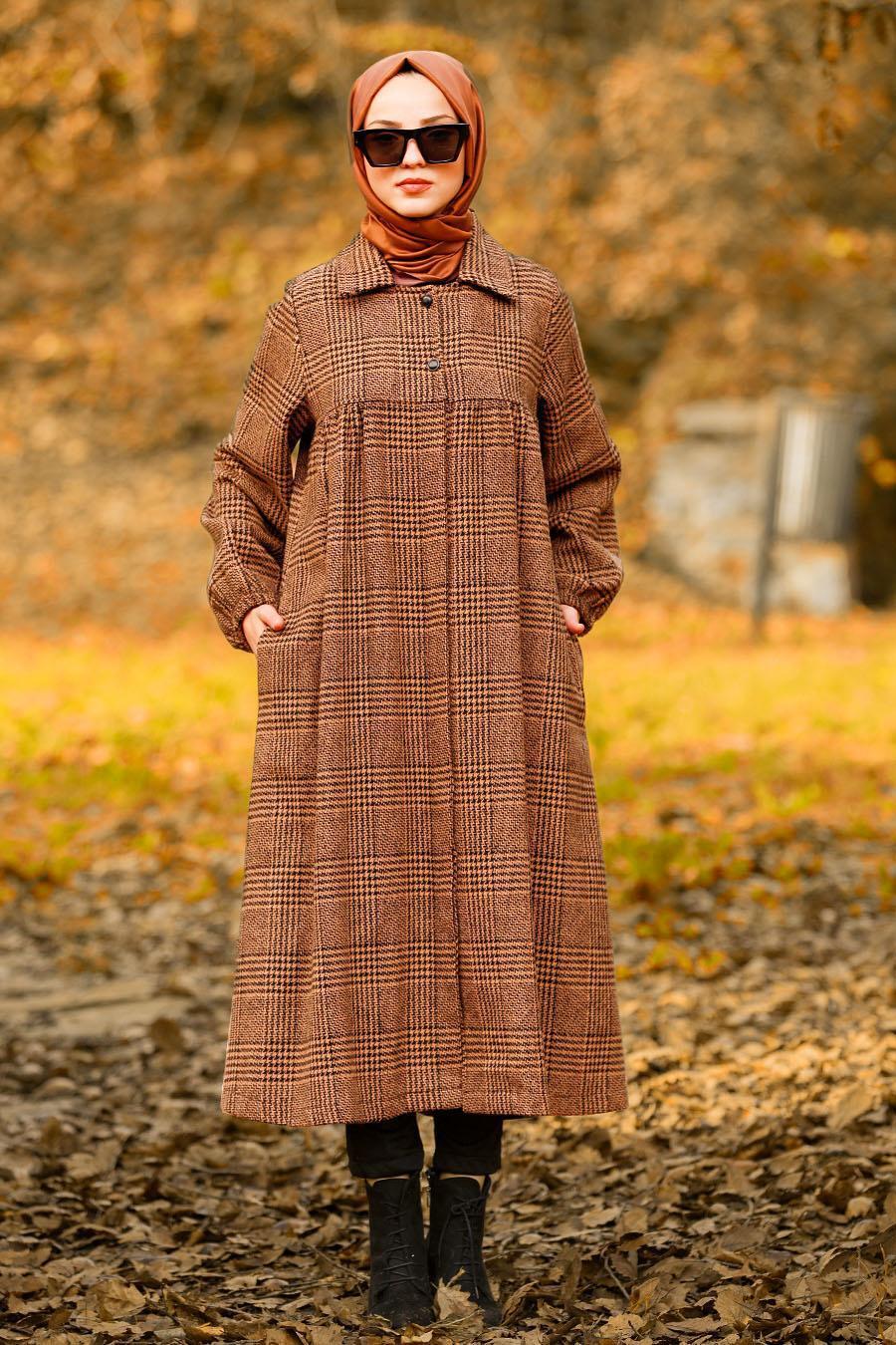 Nayla Collection - Yellowish Brown Hijab Coat 5407TB