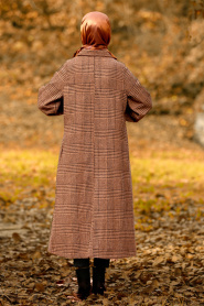 Nayla Collection - Yellowish Brown Hijab Coat 5407TB - Thumbnail