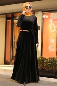 Neva Style - Altın Kemerli Siyah Tesettür Kadife Elbise 32940S - Thumbnail