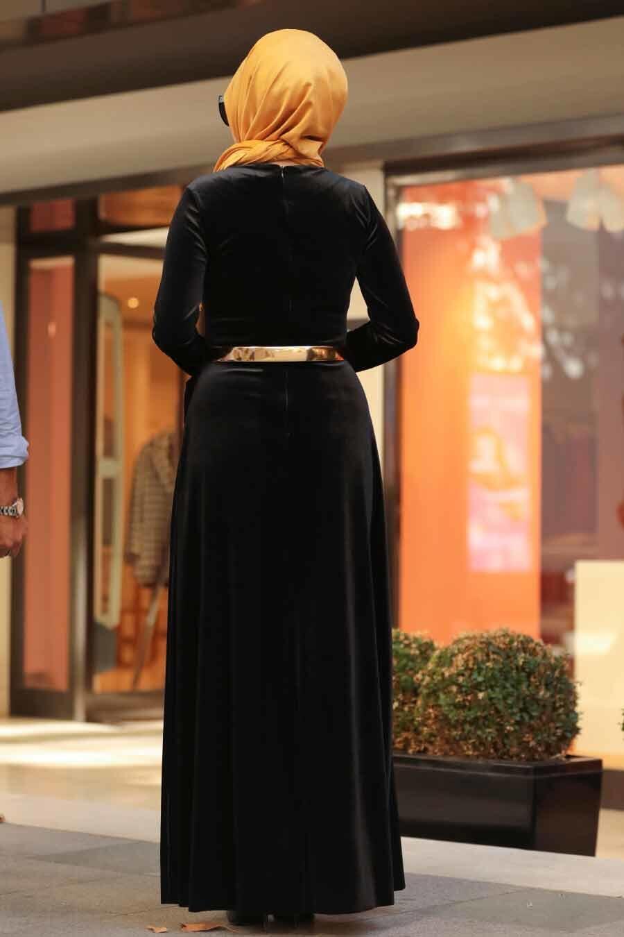Neva Style - Altın Kemerli Siyah Tesettür Kadife Elbise 32940S
