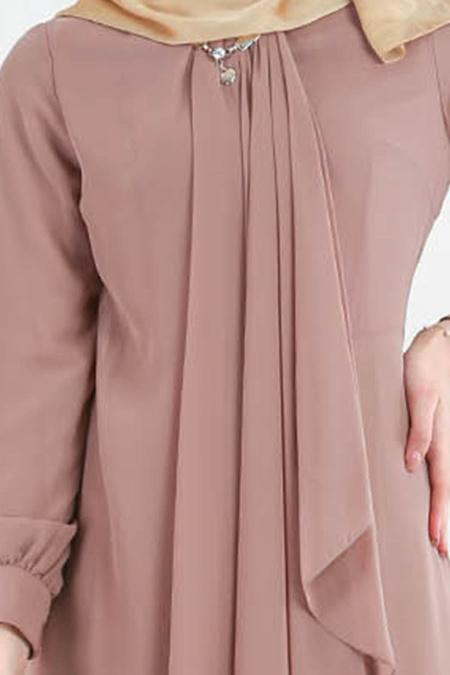 Neva Style - Asimetrik Kesim Vizon Tesettür Elbise 52547V