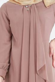 Neva Style - Asimetrik Kesim Vizon Tesettür Elbise 52547V - Thumbnail