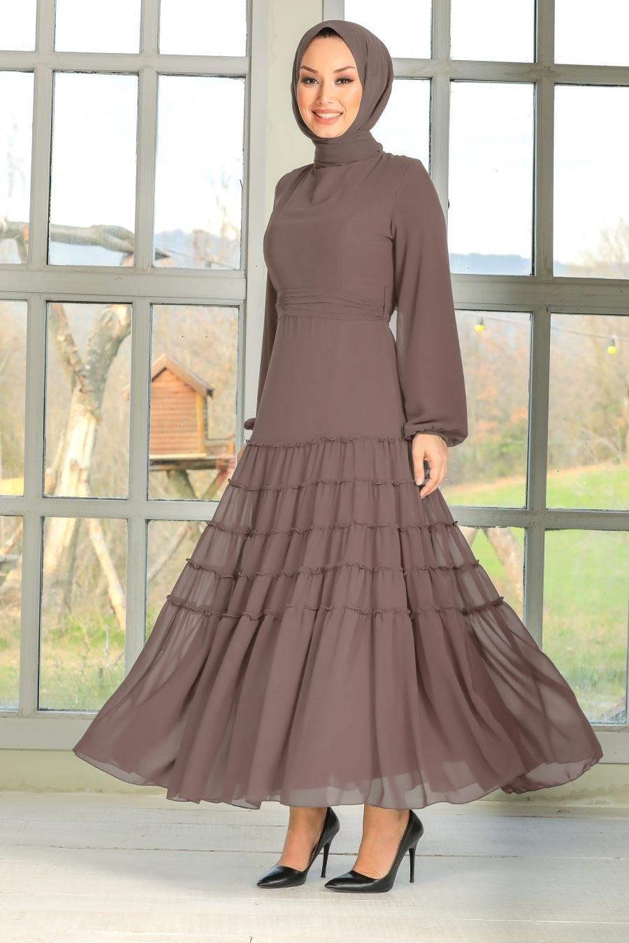 Neva Style - Balon Kol Kahverengi Tesettür Elbise 27001KH