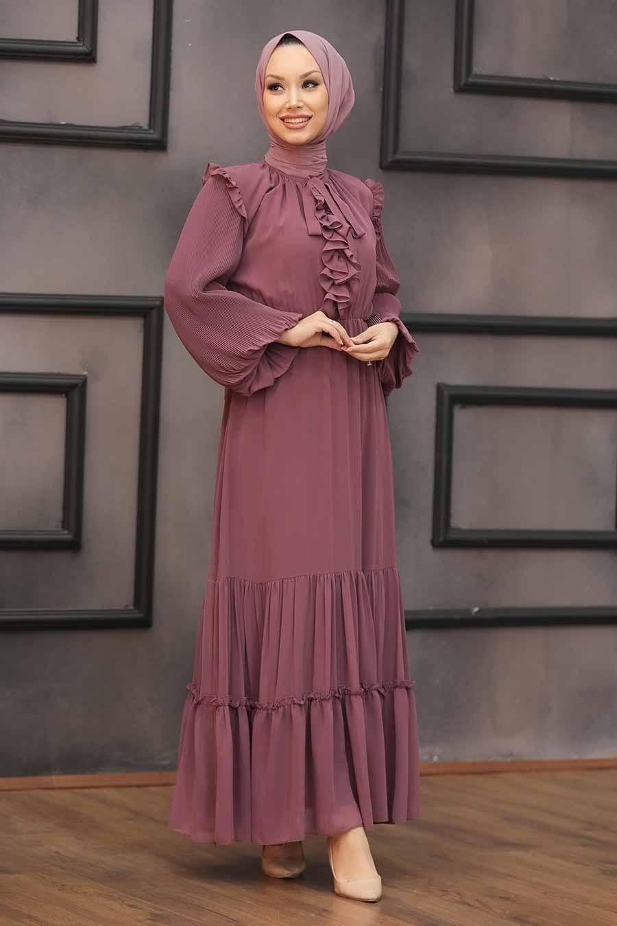 Neva Style - Balon Kol Koyu Gül Kurusu Tesettür Elbise 2409KGK
