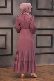 Neva Style - Balon Kol Koyu Gül Kurusu Tesettür Elbise 2409KGK - Thumbnail