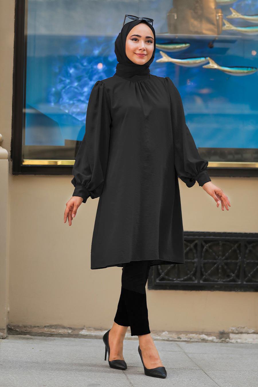 Neva Style - Balon Kol Siyah Tesettür Tunik 23790S