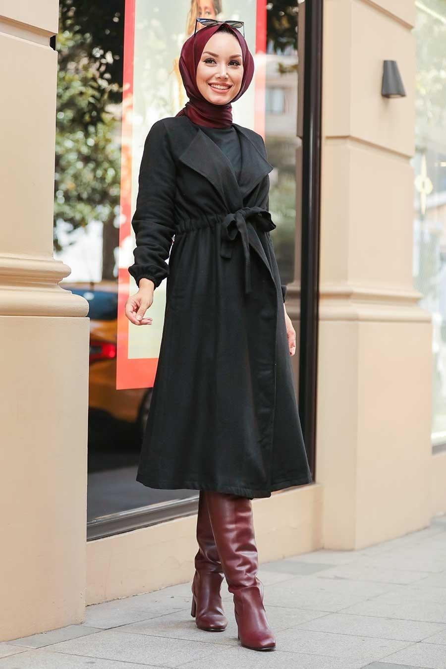 Neva Style - Belden Bağlamalı Siyah Tesettür Kap 5168S