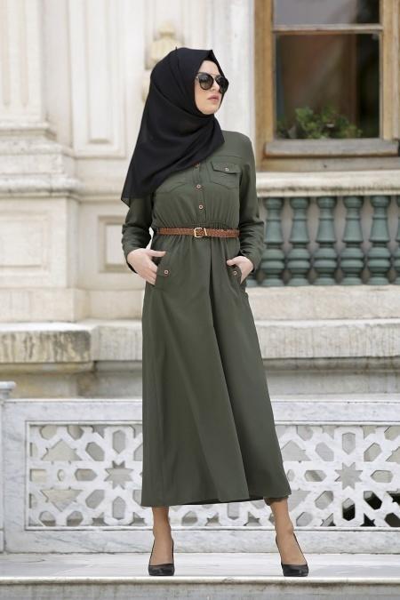 Neva Style - Belden Büzgülü Haki Elbise
