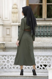 Neva Style - Belden Büzgülü Haki Elbise - Thumbnail