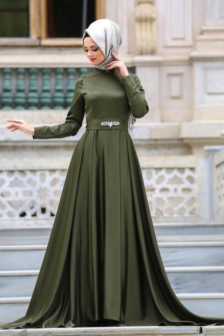 Neva Style - Beli Taş Detaylı Haki Tesettür Abiye Elbise 3556HK