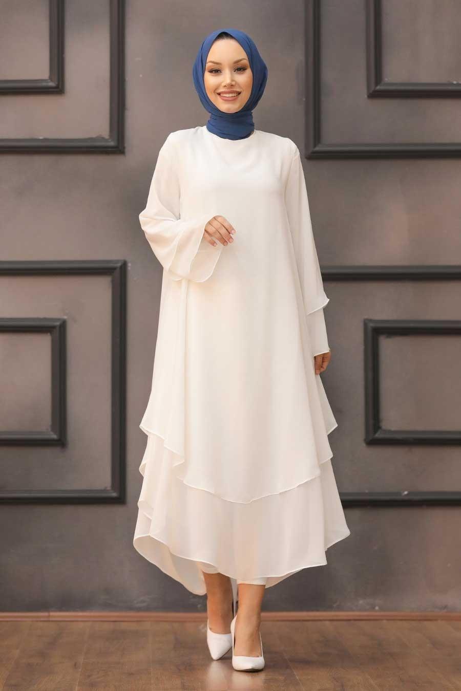 Neva Style - Beyaz Tesettür Tunik 33170B