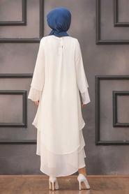 Neva Style - Beyaz Tesettür Tunik 33170B - Thumbnail