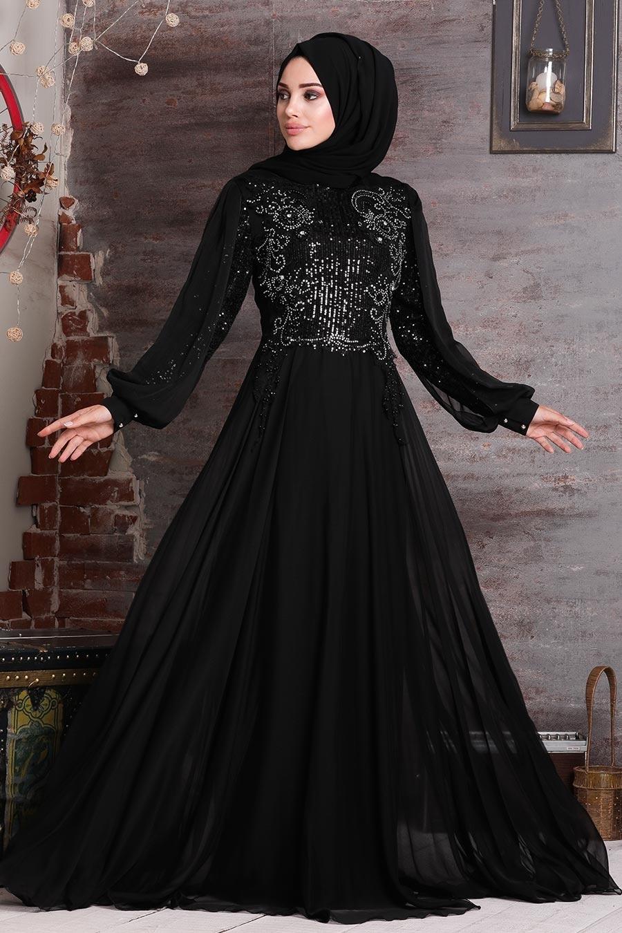 Neva Style - Boncuk İşlemeli Siyah Tesettür Abiye Elbise 25775S