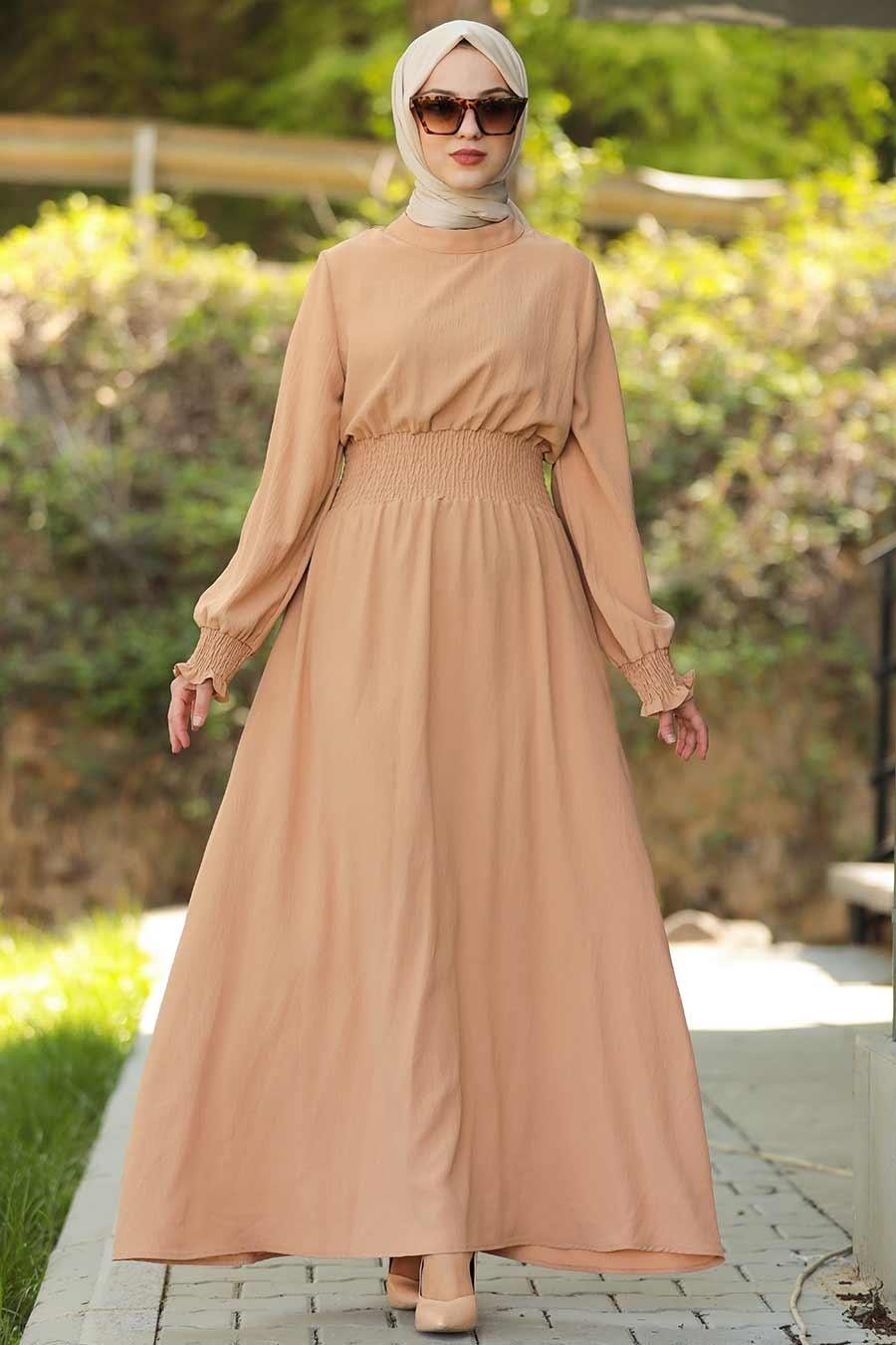 Neva Style - Camel Tesettür Elbise 1149C