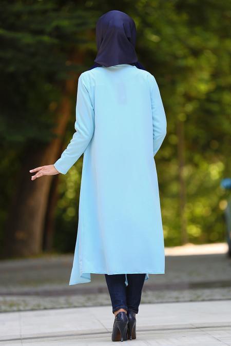 Neva Style - Cepli Bebek Mavisi Tesettür Hırka 52740BM
