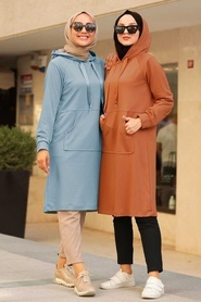 Neva Style - Cepli Mavi Tesettür Sweatshirt & Tunik 16030M - Thumbnail