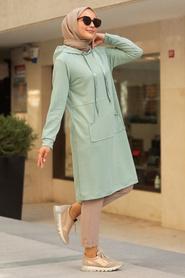 Neva Style - Cepli Mint Tesettür Sweatshirt & Tunik 16030MINT - Thumbnail