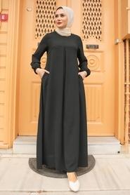 Neva Style - Cepli Siyah Tesettür Elbise 4362S - Thumbnail