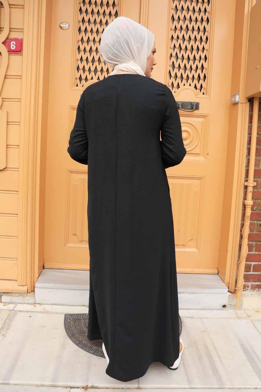 Neva Style - Cepli Siyah Tesettür Elbise 4362S