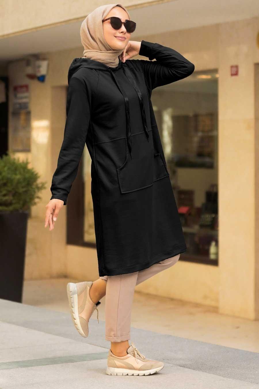 Neva Style - Cepli Siyah Tesettür Sweatshirt & Tunik 16030S