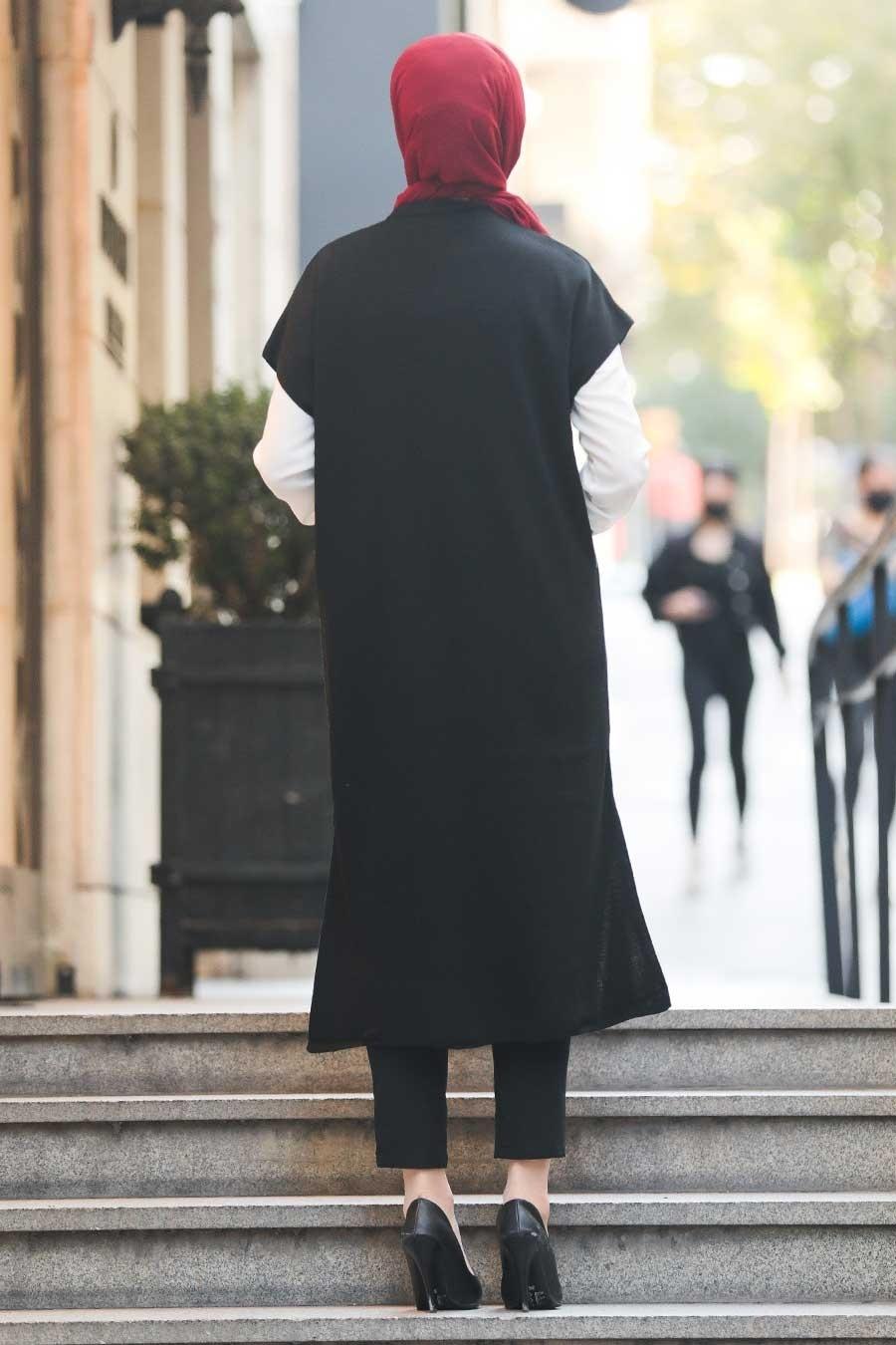 Neva Style - Cepli Siyah Tesettür Triko Yelek 21920S
