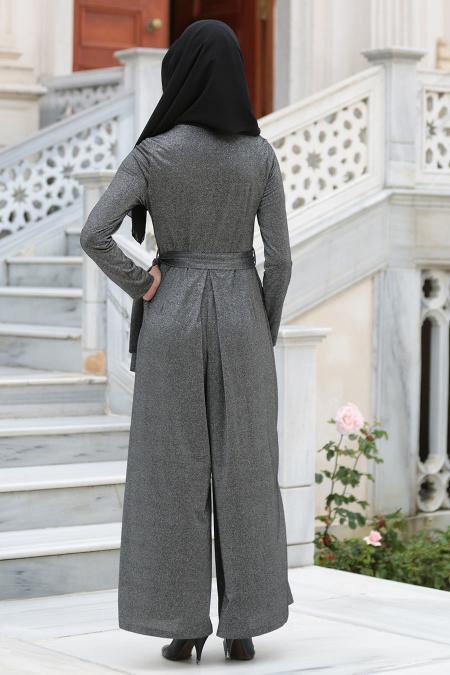 Neva Style - Cepli Siyah Tesettür Tulum 513S