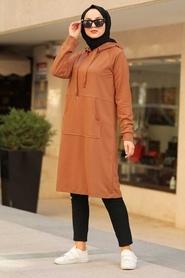 Neva Style - Cepli Taba Tesettür Sweatshirt & Tunik 16030TB - Thumbnail