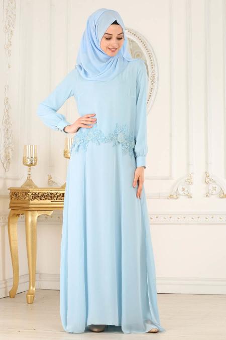 Neva Style - Çiçek Dantelli Bebek Mavisi Tesettür Abiye Elbise 25618BM