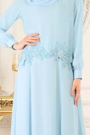 Neva Style - Çiçek Dantelli Bebek Mavisi Tesettür Abiye Elbise 25618BM - Thumbnail