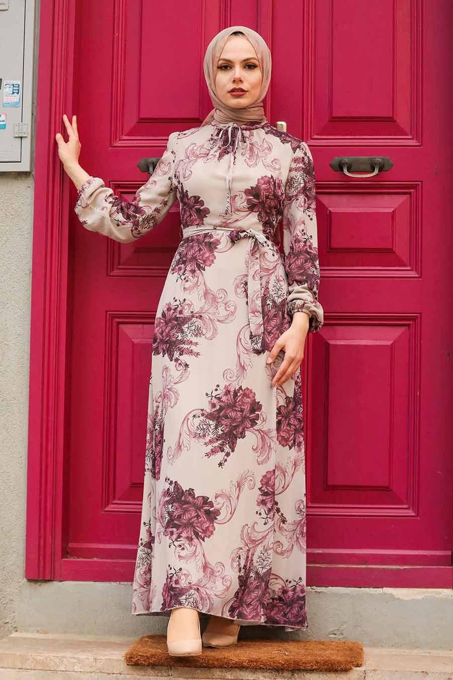 Neva Style - Çiçek Desenli Bej Tesettür Elbise 27921BEJ