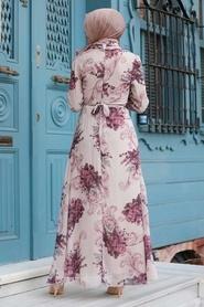 Neva Style - Çiçek Desenli Bej Tesettür Elbise 27921BEJ - Thumbnail