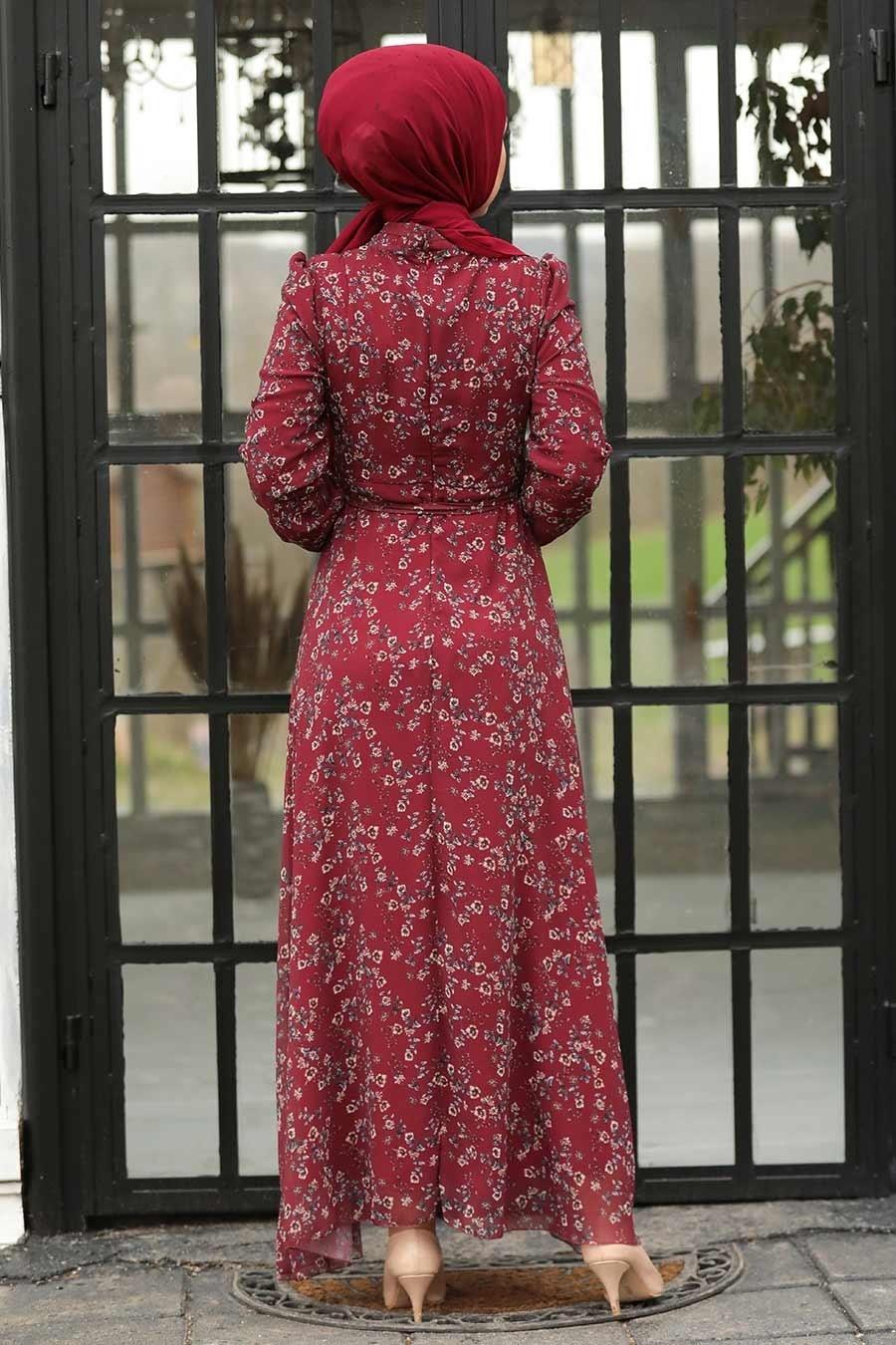 Neva Style - Çiçek Desenli Bordo Tesettür Elbise 27902BR
