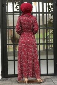 Neva Style - Çiçek Desenli Bordo Tesettür Elbise 27902BR - Thumbnail