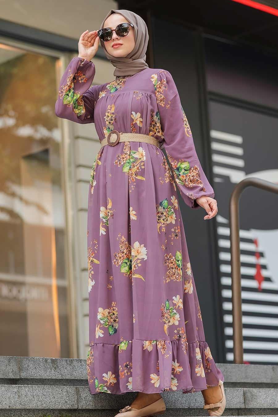 Neva Style - Çiçek Desenli Gül Kurusu Tesettür Elbise 51492GK